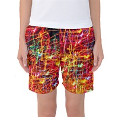 Random Colored Light Swirls Women s Basketball Shorts