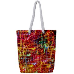 Random Colored Light Swirls Full Print Rope Handle Tote (small)