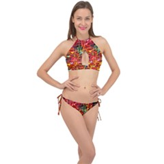 Random Colored Light Swirls Cross Front Halter Bikini Set