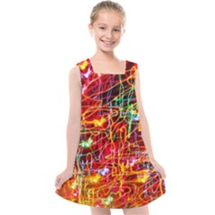 Random Colored Light Swirls Kids  Cross Back Dress