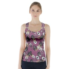 Beautiful Floral Pattern Background Racer Back Sports Top