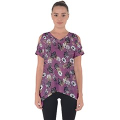Beautiful Floral Pattern Background Cut Out Side Drop Tee