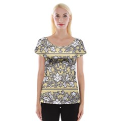 Floral Pattern Background Cap Sleeve Top by Samandel