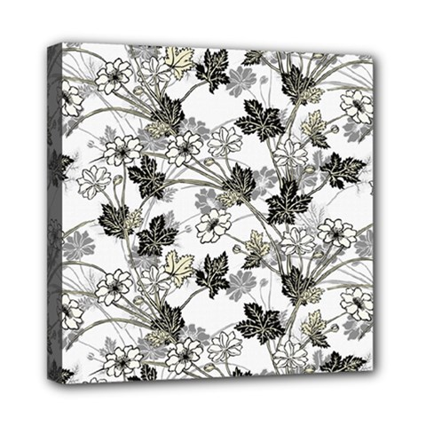 Black And White Floral Pattern Background Mini Canvas 8  X 8  (stretched)