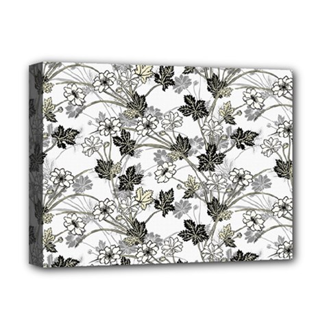 Black And White Floral Pattern Background Deluxe Canvas 16  X 12  (stretched)