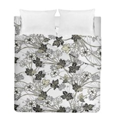 Black And White Floral Pattern Background Duvet Cover Double Side (full/ Double Size) by Samandel
