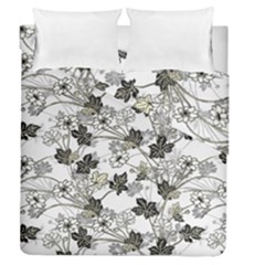 Black And White Floral Pattern Background Duvet Cover Double Side (queen Size)