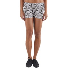 Black And White Floral Pattern Background Yoga Shorts