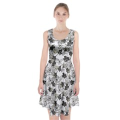 Black And White Floral Pattern Background Racerback Midi Dress