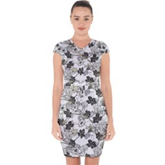 Black And White Floral Pattern Background Capsleeve Drawstring Dress