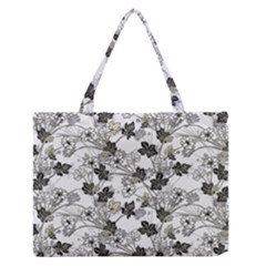 Black And White Floral Pattern Background Zipper Medium Tote Bag
