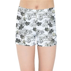 Black And White Floral Pattern Background Kids Sports Shorts