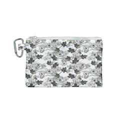 Black And White Floral Pattern Background Canvas Cosmetic Bag (small)