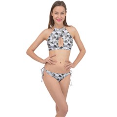 Black And White Floral Pattern Background Cross Front Halter Bikini Set