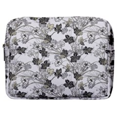 Black And White Floral Pattern Background Make Up Pouch (large)