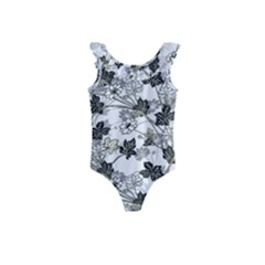 Black And White Floral Pattern Background Kids  Frill Swimsuit