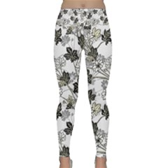 Black And White Floral Pattern Background Lightweight Velour Classic Yoga Leggings