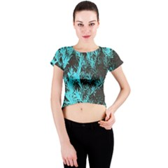 Blue Etched Background Crew Neck Crop Top