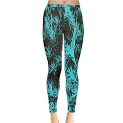 Blue Etched Background Inside Out Leggings