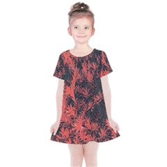Orange Etched Background Kids  Simple Cotton Dress