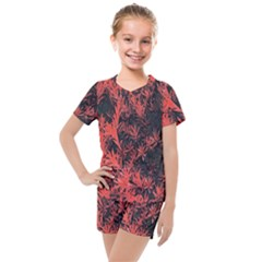 Orange Etched Background Kids  Mesh Tee And Shorts Set