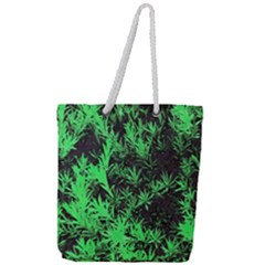Green Etched Background Full Print Rope Handle Tote (large)