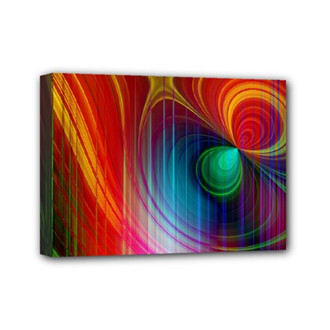 Background Color Colorful Rings Mini Canvas 7  X 5  (stretched)