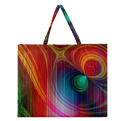 Background Color Colorful Rings Zipper Large Tote Bag