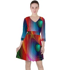 Background Color Colorful Rings Ruffle Dress