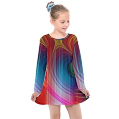 Background Color Colorful Rings Kids  Long Sleeve Dress