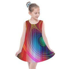 Background Color Colorful Rings Kids  Summer Dress