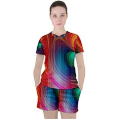 Background Color Colorful Rings Women s Tee And Shorts Set