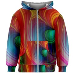 Background Color Colorful Rings Kids Zipper Hoodie Without Drawstring