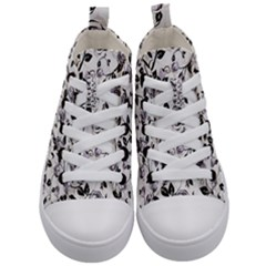 Floral Pattern Background Kid s Mid Top Canvas Sneakers
