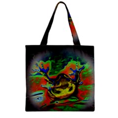 Abstract Transparent Background Zipper Grocery Tote Bag