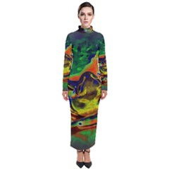 Abstract Transparent Background Turtleneck Maxi Dress