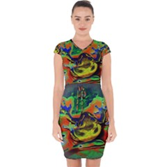 Abstract Transparent Background Capsleeve Drawstring Dress