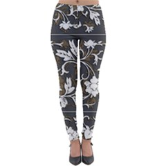 Floral Pattern Background Lightweight Velour Leggings