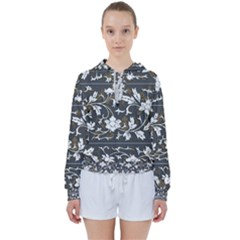 Floral Pattern Background Women s Tie Up Sweat