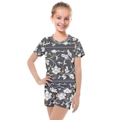 Floral Pattern Background Kids  Mesh Tee And Shorts Set