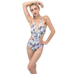 Floral Pattern Background Plunging Cut Out Swimsuit