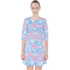 Transgender Pride Hearts; A Cute Trans Pride Motif! Quarter Sleeve Pocket Dress by PrideMarks