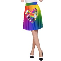 Lgbt Community Pride Heart A-line Skirt