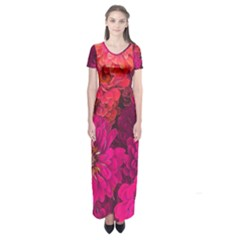 Pink Zinnias Short Sleeve Maxi Dress