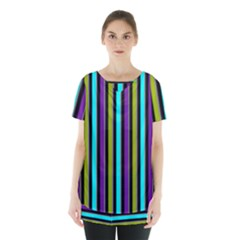 Retro Stripe 1 Vertical Retro Stripe 1 Skirt Hem Sports Top