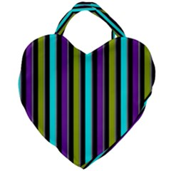 Retro Stripe 1 Vertical Retro Stripe 1 Giant Heart Shaped Tote by dressshop