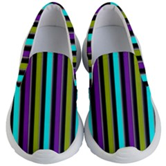 Retro Stripe 1 Vertical Retro Stripe 1 Kid s Lightweight Slip Ons by dressshop