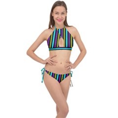 Retro Stripe 1 Vertical Retro Stripe 1 Cross Front Halter Bikini Set by dressshop