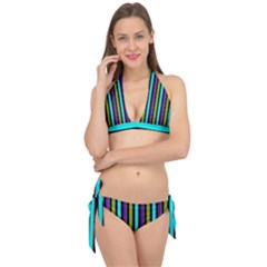 Retro Stripe 1 Vertical Retro Stripe 1 Tie It Up Bikini Set by dressshop