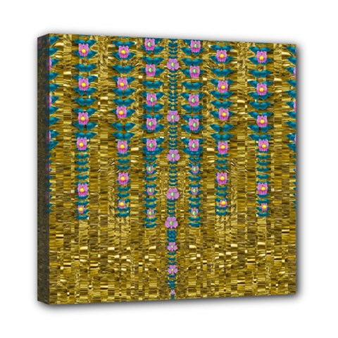 Gold Jungle And Paradise Liana Flowers Mini Canvas 8  X 8  (stretched) by pepitasart